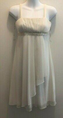 City Triangles Straps Beaded Ivory Prom Party Dress Ruffle Skirt Medium #75010 (Party City Beads)