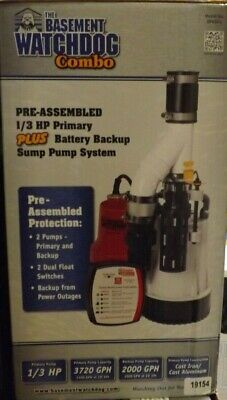 The Basement Watchdog Combo 13hp Primarybattery Backup Sump System Dfk961 New