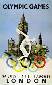 London Olympics 1948 - vintage old sports repro wall poster