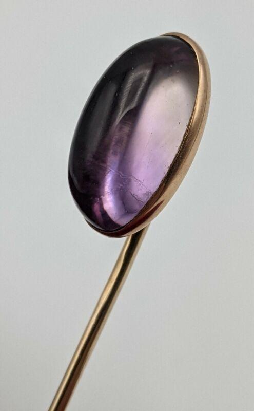 "Antique 14K Solid Gold Amethyst Stone Cabochon 2.5"" Stick Pin vintage tie lapel"