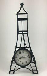 Table Clock Eiffel Tower Metal Measures 12 inches tall.