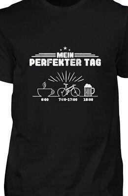 T Shirt Herren Mein perfekter Tag Kaffee Rad fahren Bier lustig Spruch Geschenk - Radfahren Lustige T-shirt