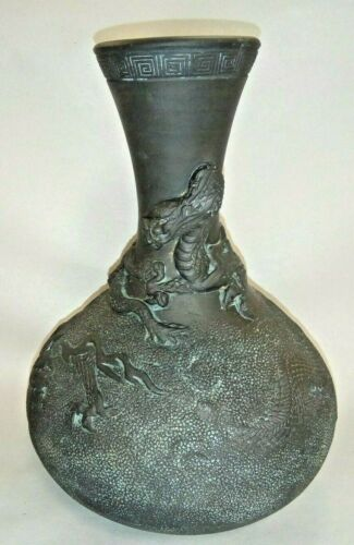 Antique Japanese Black Tokoname  Pottery Vase / Bottle with High Relief Dragon