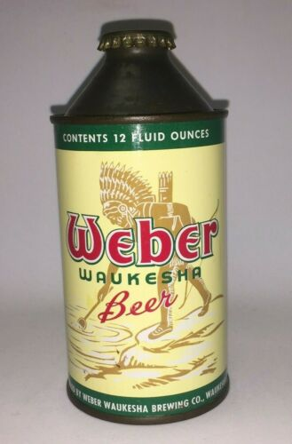 Weber Beer High Profile Cone Top Beer Can Waukesha Brewing Co Wisconsin WI