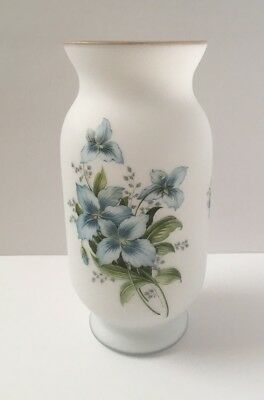 "Norleans 9.5"" White Frosted Glass Light Blue Floral Design Vase Container Italy"