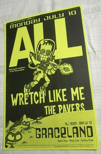 ALL 2000 Seattle Concert Original Poster w/ Wretch Like Me + The Pavers