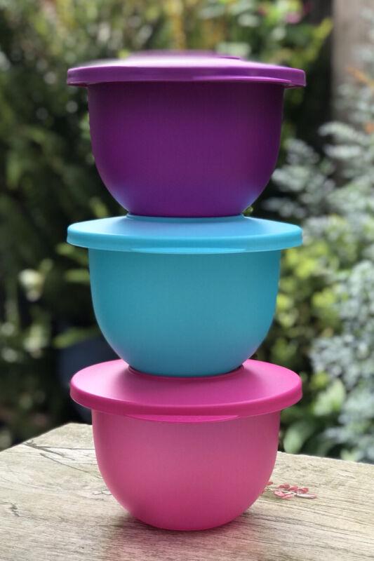 Tupperware Impressions SET OF 3 mini bowls  -  550mL with Lids NEW