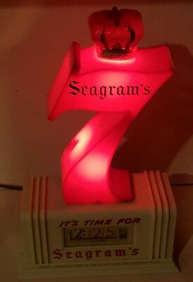 Vintage Seagram's 7 Bar Electric Light & Clock-Liquor Advertising.100% working