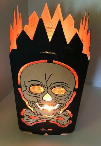 Vintage BEISTLE Halloween Lantern Cardboard w/Inserts 4-sided Skull HTF Original