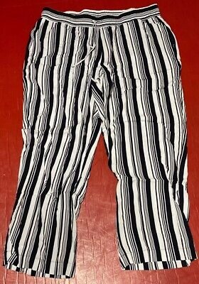 Maurices Womens Pull On Pants Sz 1 Plus Size Black White Vertical