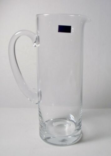 "Royal Bohemia Made in Poland 10-3/4"" CLEAR GLASS MARTINI PITCHER w/Label MINT"