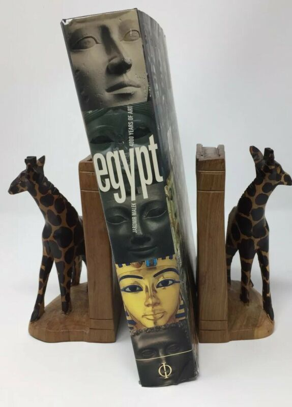 """Giraffe Wood hand Carved Bookends Kenya Africa Handmade 6"""" Tall"""