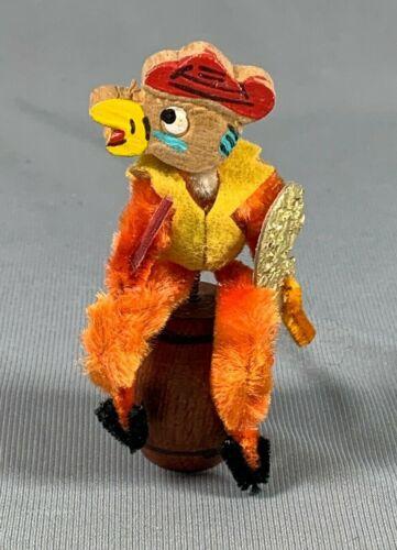 Vtg Chenille & Wood Duck Chicken Bobble Playing Violin