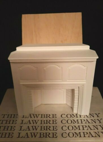 LAWBRE CO. Cast Miniature Salem Corner Fireplace w/ Wall Section - White #FP-6