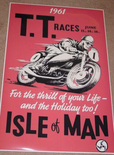 VINTAGE 1961 ISLE OF MAN TT RACES MOTORCYCLE RACING POSTER PRINT 24x16 9 MIL