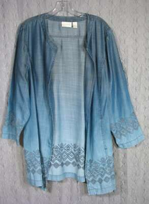 CHICO'S Size 3 L XL Faded Denim Blue Embroidered Tencel Open Tunic Jacket