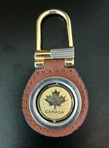 Vintage Canada Maple Leaf Spinning Coin Token Pendant Key Fob Luxury Keychain