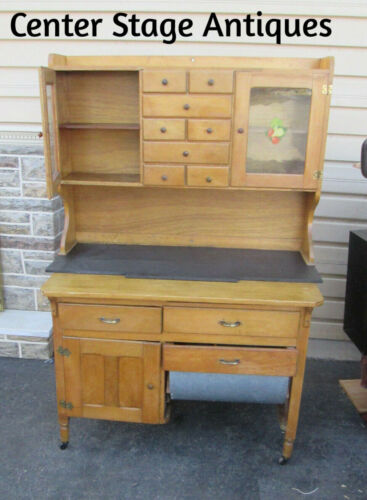 56724 Poplar Country Primitive Kitchen Hoosier Cabinet with partial Slate top