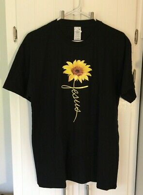 Adult Unisex Large Black SS T shirt Christian  Jesus Sunflower 100% -