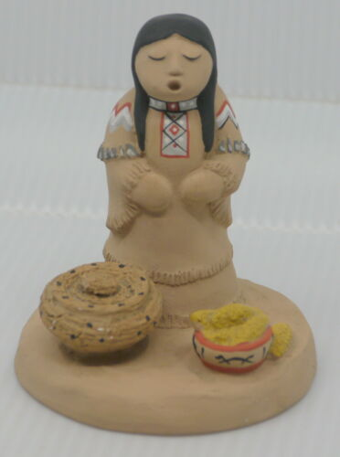 SOUTHESTERN ART POTTERY FIGURINE SIGNED TEISSEDRE, NATIVE AMERICAN WOMAN & BABY
