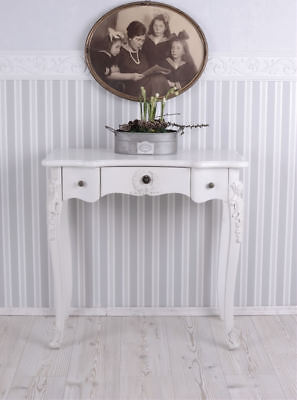 Birch Dining Room Side Table - Table Console Shabby Chic White Women's Desk Wall Side