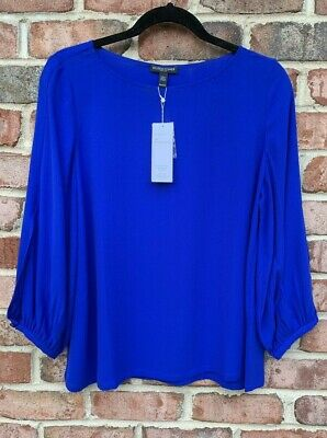 Slit Sleeve Top (NWT EILEEN FISHER ROYAL SILK GEORGETTE BATEAU NK SLIT-SLEEVE TOP $278 XS S PM PL)