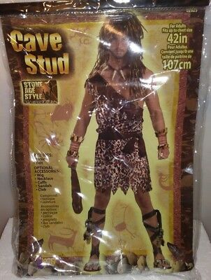 MEN'S STONE AGE STYLE CAVE STUD COSTUME ANIMAL PRINT ONE SIZE TUNIC & BELT L-03](Stone Age Cavemen)