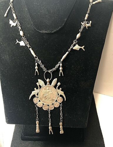 Vtg Guatemala 900 Silver Coin Necklace Chachal Milagros Animal Charms 1894 94 gr