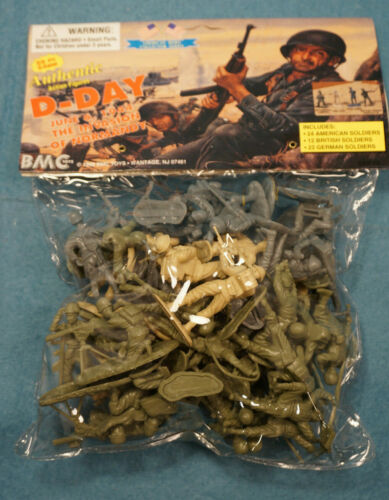1998 BMC Toys WW2 D-DAY Normandy Plastic Army Men Soldiers 59 PC NIP 54MM 1/32