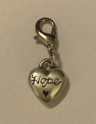 Brighton HOPE HEART Black Charm Silver Excellent Condition Very Pretty Love