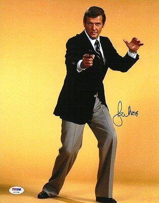 Roger Moore Signed James Bond Authentic Autographed 11X14 Photo Psa Dna Coa