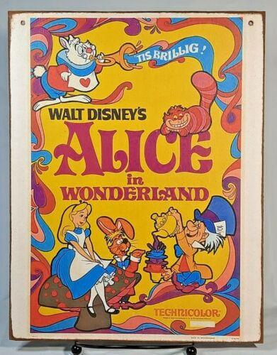 ALICE IN WONDERLAND DISNEY Movie Poster Handmade Disney World vintage sign