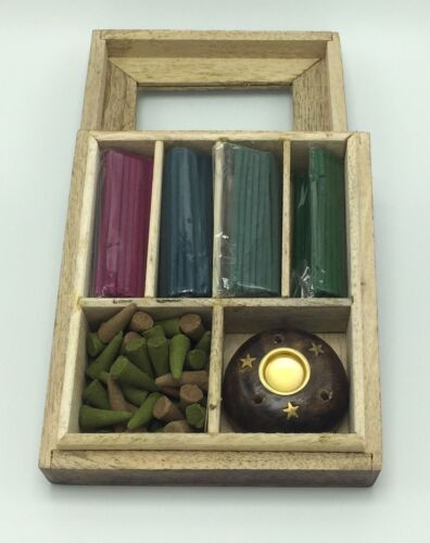 Wooden Incense gift set  Sticks Cones Fragrance in Wood Box 160 pcs