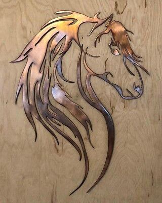 Horse Metal Art - Horse Head Wall Metal Art Hanging with Rustic Copper Finish
