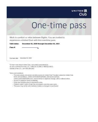 United Airlines Club Lounge One-Time Passes, Expire December 2, 2021, E-Delivery