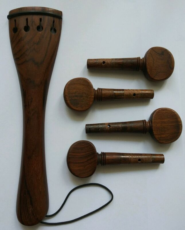 Rare Set of 4/4 Hornwood Accessories for cello: 4 Pegs, 1 Tailpiece with Kevlar.