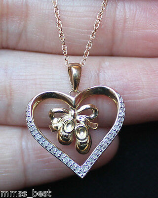 Baby Shoes Heart Necklace - New 10K White Diamond Baby Shoes Heart Mom Necklace Dangle pendant Chain Gold