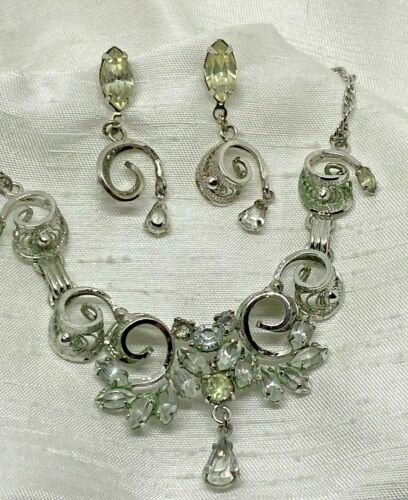 .925 Sterling Silver CZ Peridot White Quartz Art Nouveau Necklace Earrings Set