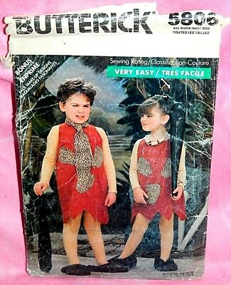 Uncut Butterick Child 3-6x Caveman Flintstones Pebbles Bamm-Bamm Costume Pattern](Baby Pebbles Costume)