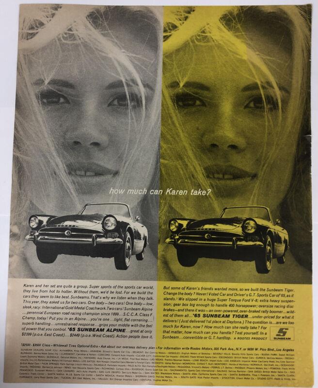 Vintage KAREN Ad How Much Can Karen Take 1965 Sunbeam Alpine & Tiger Car