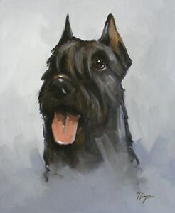 Original-Oil-painting-portrait-of-a-schnauzer-dog-by-j-payne