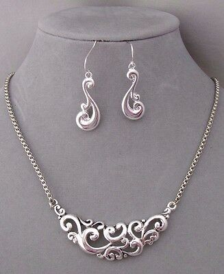 Silver Filigree Flourish Necklace Earrings Set Fashion Jewelry NEW Pretty!