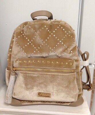 NEW Bebe Joan Velvet Stones Backpack Taupe Beige Quilted Studded Bag MSRP $109