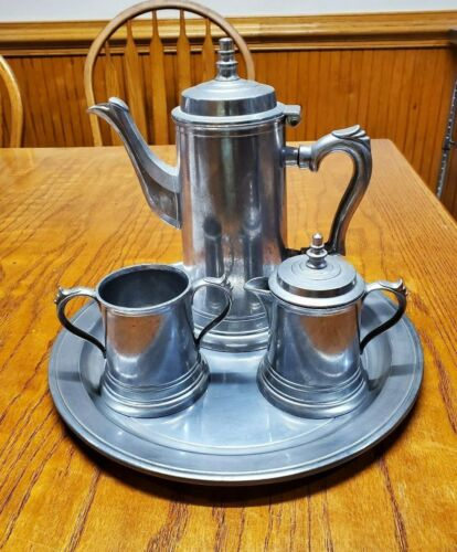 Vintage Duratale by Leonard Pewter Coffee Tea Serving Set 5 piece Made in Italy