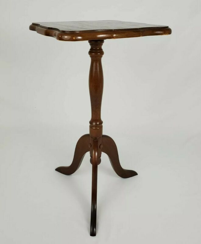 Vintage Oak Wood Pedestal Side Accent Table Plant Stand