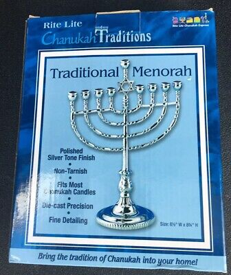 Rite Lite Chanukah Traditions Traditional Polished Silver Tone Finish (Polished Menorah)