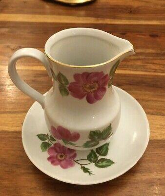 Vintage Kahla GDR Porcelain Milk Jug and Saucer Pink Rose / Flower