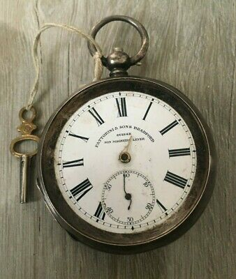 Old Silver Pocket Watch & Key Fattorini & Sons Working Spares or Repair (0,935)