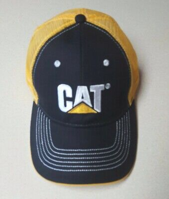 Mesh 6 Panel Cap (Caterpillar blk structured cap w/ golden yellow mesh 6 panel CAT logo)