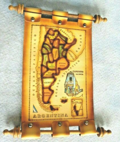 Leather Map Of Argentina Scroll Wall Hanging With Wooden Dowels